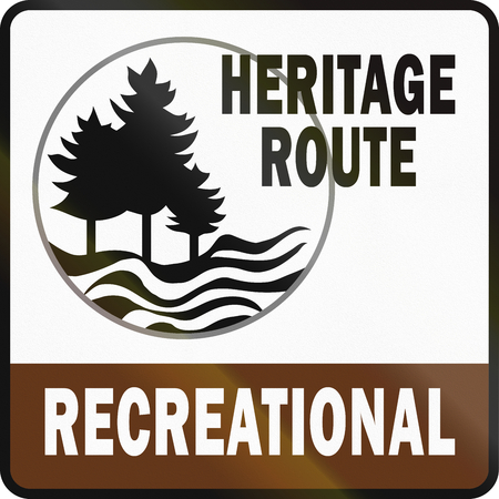 social history: Recreational Heritage Route shield in Michigan in the USA.