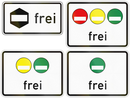 frei: Collection of emission category signs in Germany. Frei means allowed.