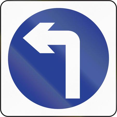 turn left sign: Bruneian traffic sign: Turn left ahead