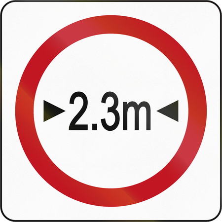 width: Bruneian sign prohibiting thoroughfare of vehicles with a width over 2.3 meters. Stock Photo