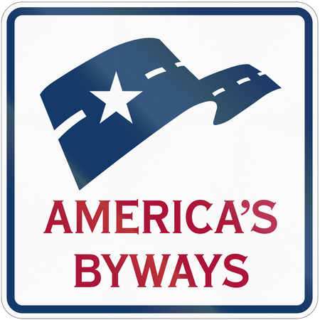 americas: Americas byways road marker in the USA.