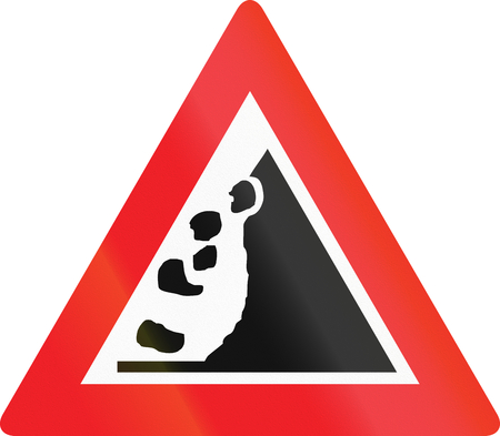 right handed: Austrian sign warning about falling rocks from the right.