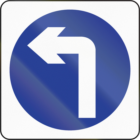 turn left: Bruneian traffic sign: Turn left ahead