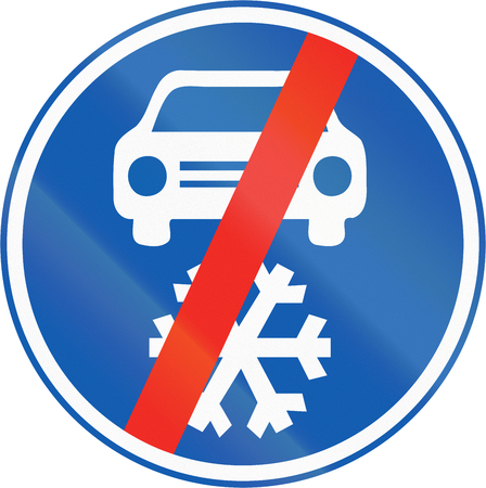winter tires: End of area for mandatory winter tires area in the Winter season.