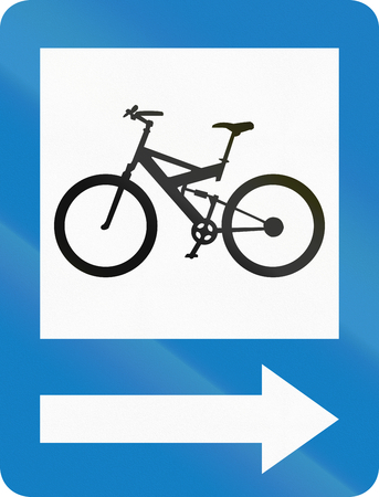 right handed: Informative road sign in Colombia: Bike path on the right. Stock Photo