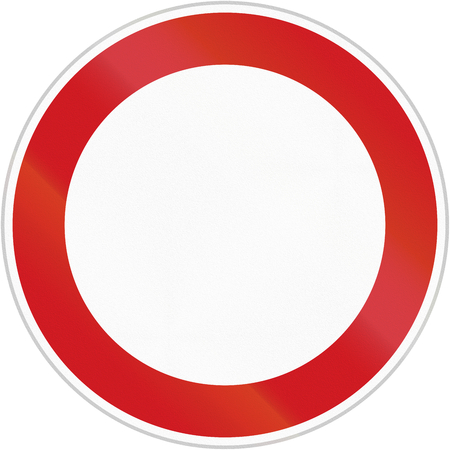 eg: Czech sign prohibiting thoroughfare for all vehicles. This image can be used as template e.g. for many prohibition signs.