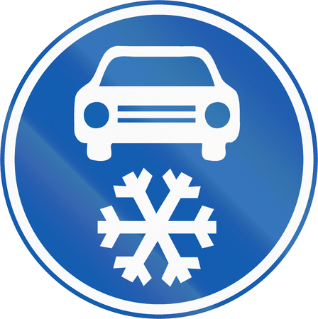 winter tires: A new Czech road sign which mandates to use winter tires in the Winter season.