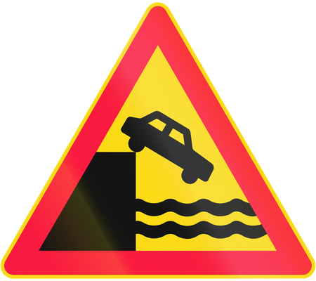 unprotected: Road sign 132 in Finland - Unprotected ferry bay, quay or river bank