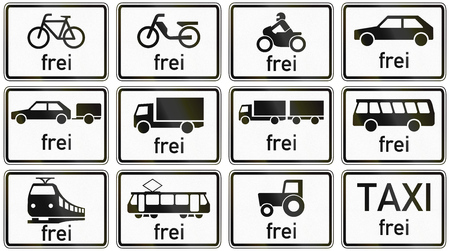 Collection of German supplementary road signs regarding exceptions from restrictions for different vehicles. Frei means allowed.