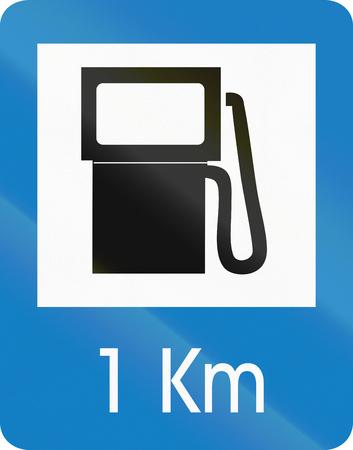 chilometro: Traffico colombiana segno: Stazione di servizio a 1 km