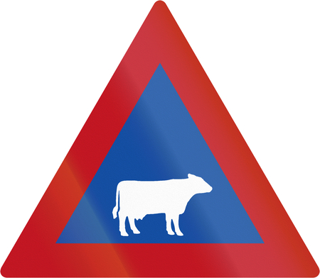 botswanan: Old design of Botswanan sign warning about cattle crossing or standing on the road. Stock Photo