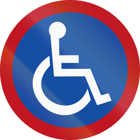 disabled parking sign: Road sign for disabled parking in Botswana.