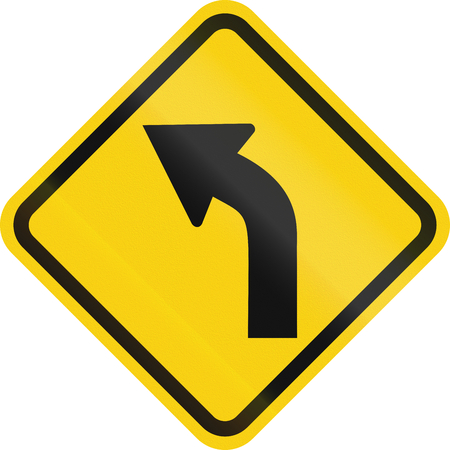 Colombian road warning sign: Left curve ahead