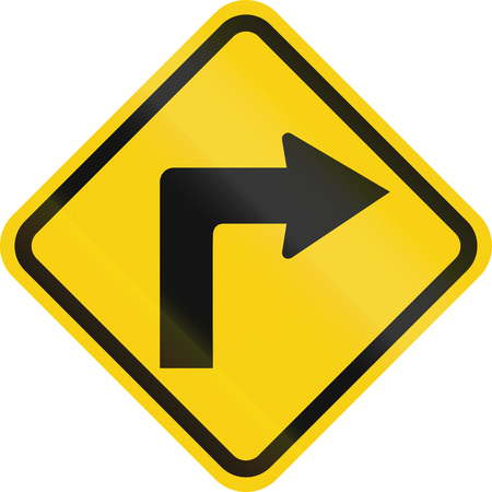 curve road: Colombian road warning sign: Right curve ahead