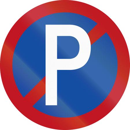 botswanan: Old design of Botswanan traffic sign: No parking along carriageway.