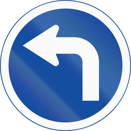 turn left: Botswanan traffic sign: Turn left ahead