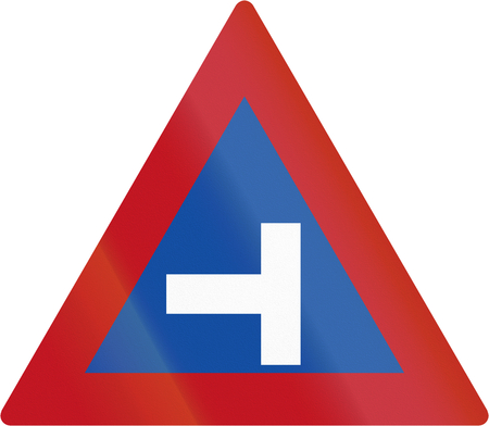 red handed: Old design of Botswanan sign warning about a T intersection.