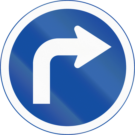 botswanan: Botswanan traffic sign: Turn right ahead Stock Photo