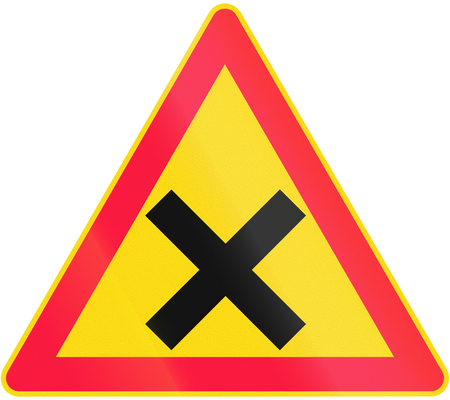 red handed: Road sign 161 in Finland - Crossroads with equal priority (give way to vehicles from the right) Stock Photo