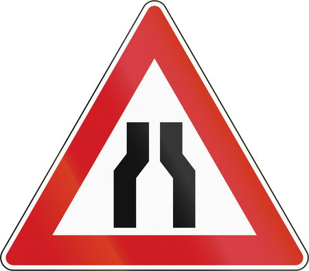 narrowing: Czech sign indicating narrowing of the road. Stock Photo