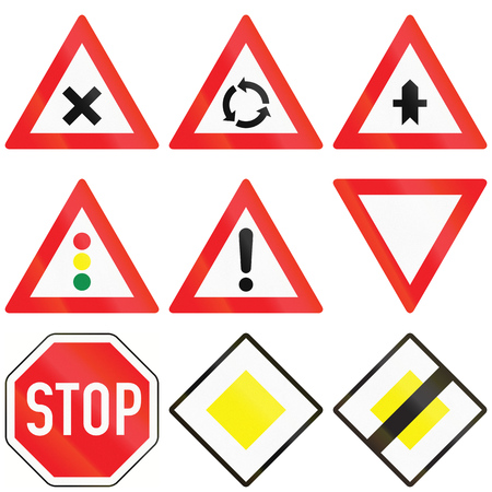 warning signs: Most common traffic signs in Austria, including stop sign, general danger and priority.