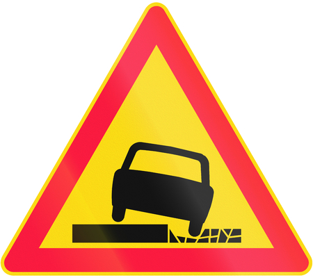 road surface: Road sign 147 in Finland - Unstable road surface