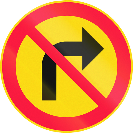 right handed: Road sign 333 in Finland - No right turn