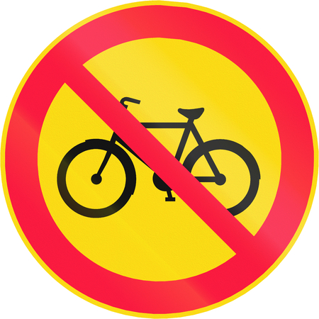 bicyclists: Road sign 322 in Finland - No bicyclists Stock Photo