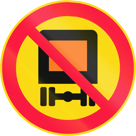 goods: Road sign 318 in Finland - No vehicles carrying dangerous goods Stock Photo