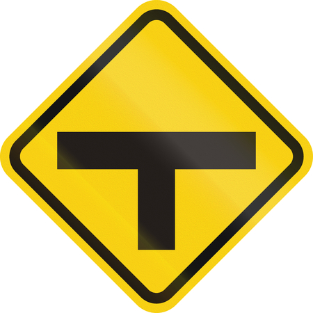 routing: Colombian road warning sign: T-Intersection ahead Stock Photo