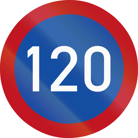 restricting: Botswanan traffic sign restricting speed to 120 kilometers per hour.