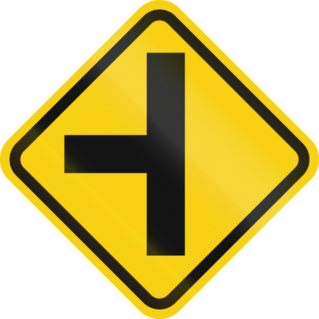 road warning sign: Colombian road warning sign: T-Intersection ahead Stock Photo