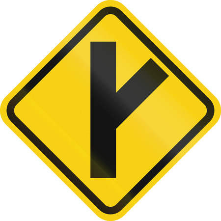 right handed: Colombian road warning sign: 3 way intersection ahead