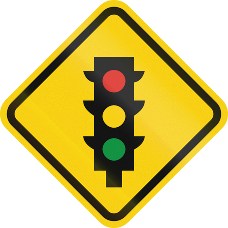 amber light: Colombian road warning sign: Traffic lights ahead Stock Photo
