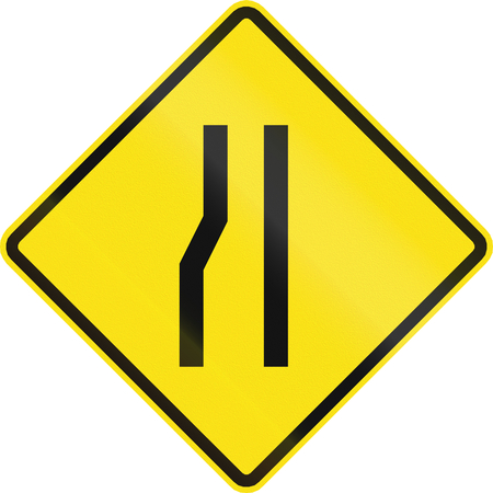 one lane road sign: Chilean road warning sign: Road narrows on the left.