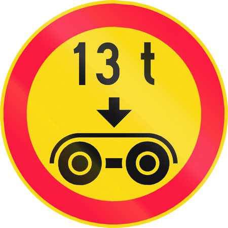 axle: Road sign 347 in Finland - No vehicles with a overall weight per tandem axle above that shown on the sign