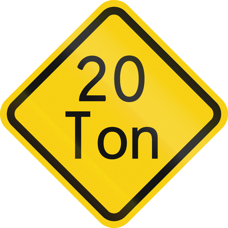 restriction: Warning road sign in Colombia: Weight restriction ahead (20 tons)
