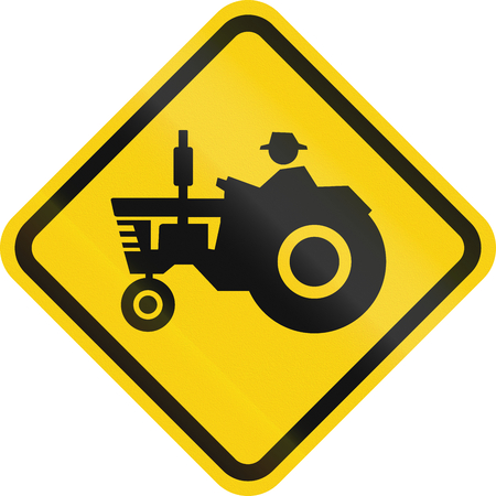 tractor warning: Colombian road warning sign: Tractorfarm vehicle crossing Stock Photo