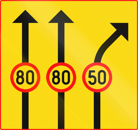 right handed: Road sign 365 In Finland - Speed limit by lane Stock Photo