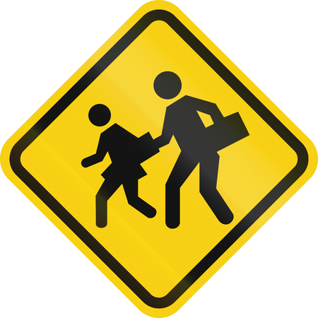 slowly: Warning road sign in Colombia: School zone Stock Photo