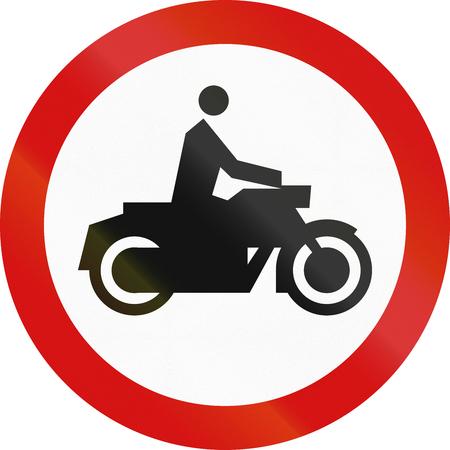thoroughfare: Polish sign prohibiting thoroughfare for motorcycles.