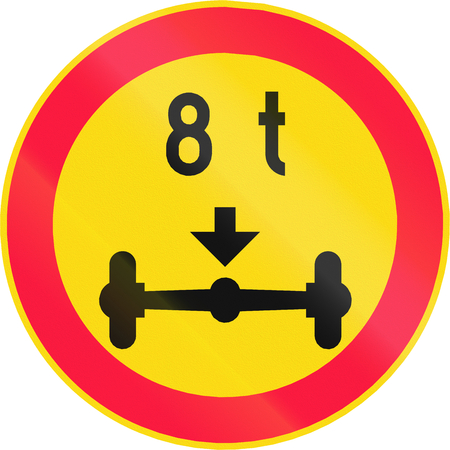 axle: Road sign 346 in Finland - No vehicles with a weight per axle above that shown on the sign