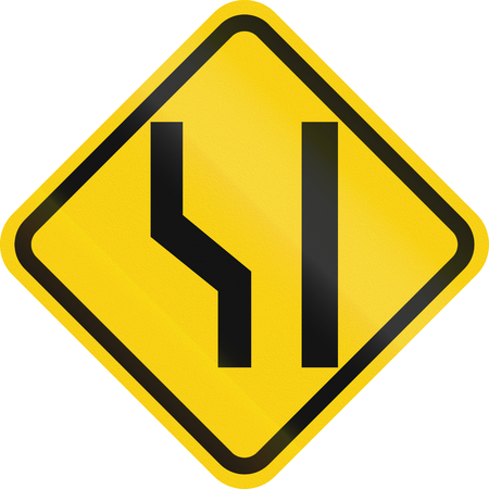 one lane roadsign: Colombian road warning sign: Road widens on the left