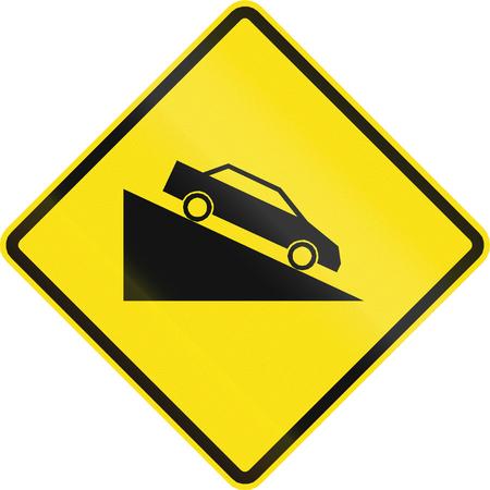 steep: Chilean road warning sign: Steep downhill grade