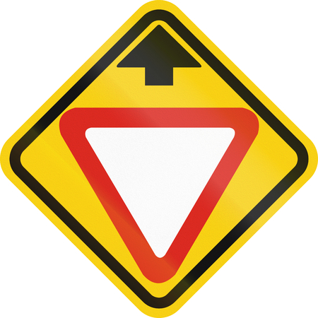 yield sign: Colombian road warning sign: Yield ahead