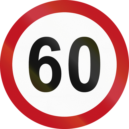 restricting: Colombian traffic sign restricting speed to 60 kilometers per hour.