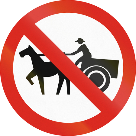 thoroughfare: Colombian sign prohibiting thoroughfare of horse drawn carriages.