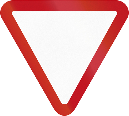 give way: Colombian traffic sign: Give way! Stock Photo
