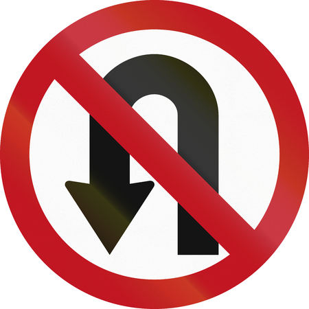 red handed: A Colombian regulatory sign - no U-turn.