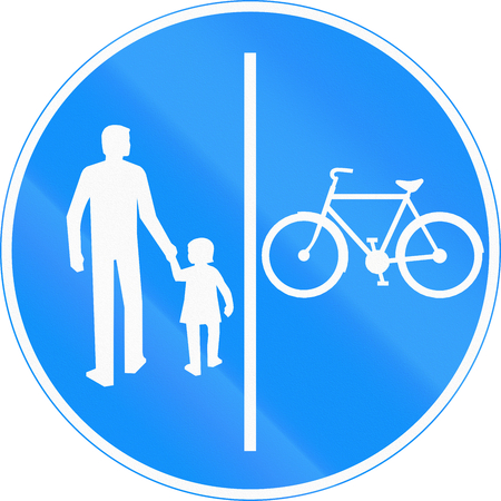 segregated: Road sign 425 in Finland - Segregated pedestrian and cycle path Stock Photo